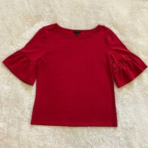 Talbots Ruffle Sleeve Tee in Red S